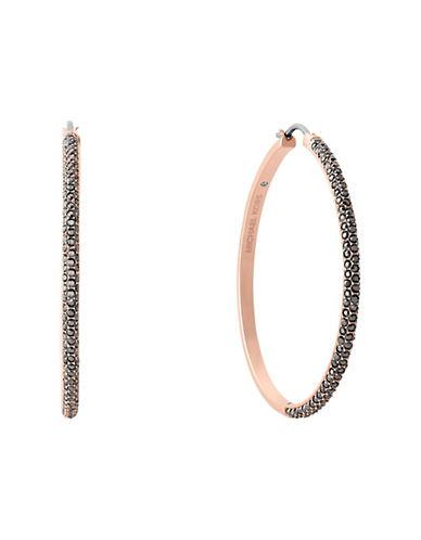 michael kors female cubic zirconia and pave crystal hoop earrings 2in