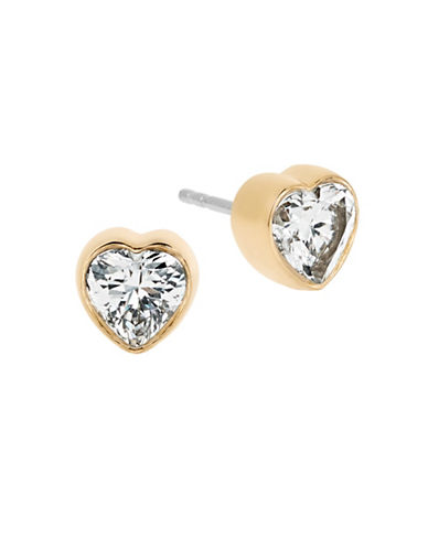 michael kors female modern brilliance crystal heart stud earringsgoldtone