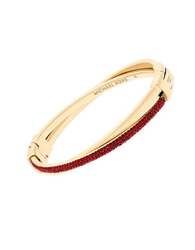 michael kors female holiday color rush cubic zirconia goldtone crisscross hinged bracelet