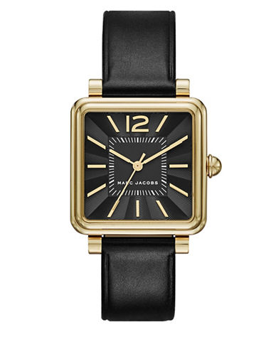marc jacobs female square case black sunray dial watch