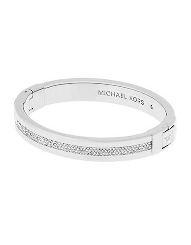 michael kors female cubic zirconia studded hinged bangle bracelet