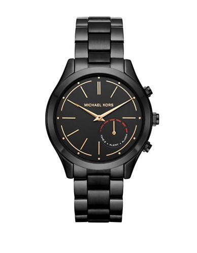 michael kors male michael kors access slim runway black ip stainless steel hybrid smartwatch
