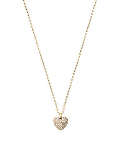 michael kors female pave cubic zirconia steel heart reversible necklace