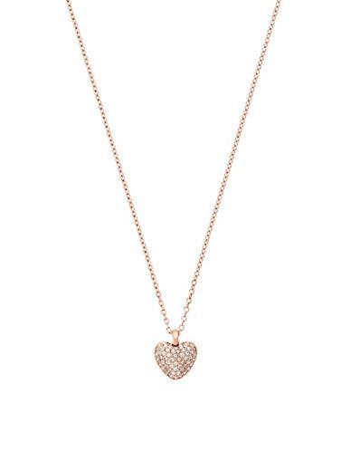 michael kors female pave cubic zirconia steel heartshaped reversible necklace