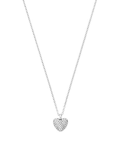 michael kors female cubic zirconia pave heart reversible necklace