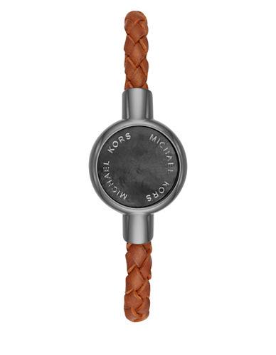 michael kors male michael kors access gunmetal ip stainless steel grey motherofpearl leather strap activity tracker bracelet