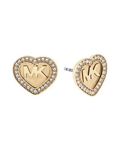 michael kors female cubic zirconia studded heartshaped earrings