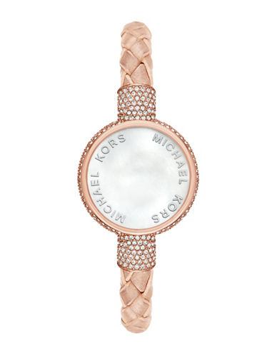 michael kors female access smart analog rose goldtone stainless steel and buff leather activity tracker