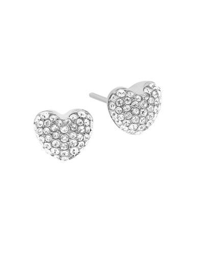 michael kors female cubic zirconia and crystal heart stud earrings