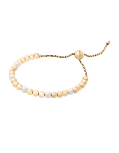 michael kors female beaded goldtone pearl slider bracelet