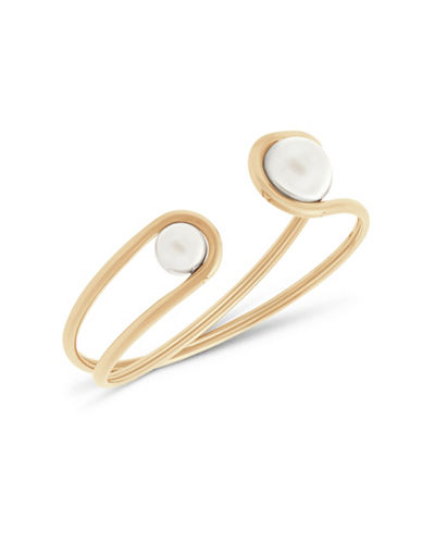 michael kors female goldtone classic faux pearl cuff