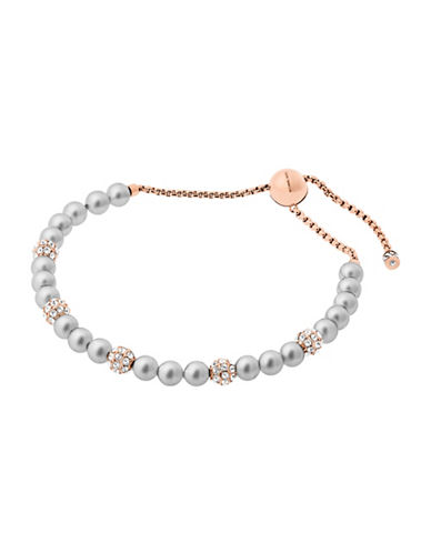michael kors female faux pearl and rose goldtone slider bracelet