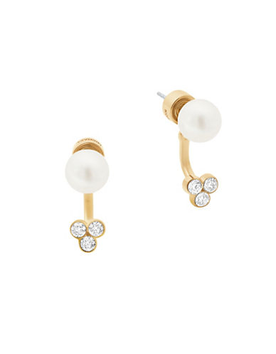 michael kors female faux pearl and stoneaccented frontback earrings