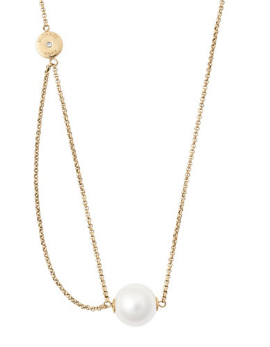 michael kors female classic goldtone modern faux pearl lobster necklace