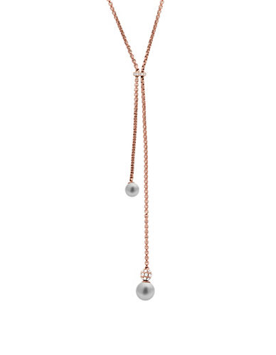 michael kors female cubic zirconia faux pearl adjustable ynecklace