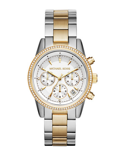 michael kors female ritz twotone stainless steel chronograph bracelet watch