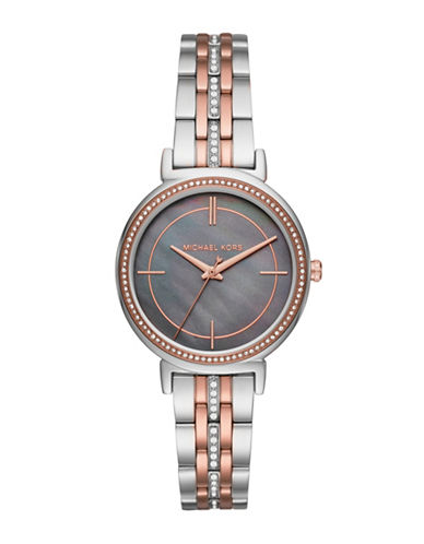michael kors female cinthia twotone stainless steel threehand bracelet watch