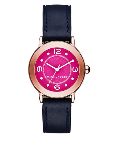 marc jacobs female riley rose goldtone stainless steel and leather guillochetextured dial strap watch