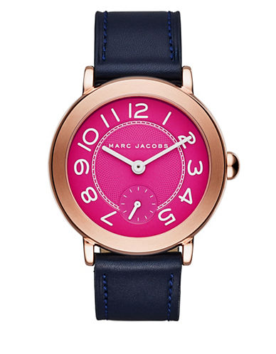 marc jacobs female riley rose goldtone stainless steel and leather threehand strap watch