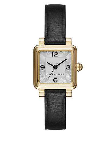 marc jacobs female vic goldtone stainless steel and leather threehand strap watch