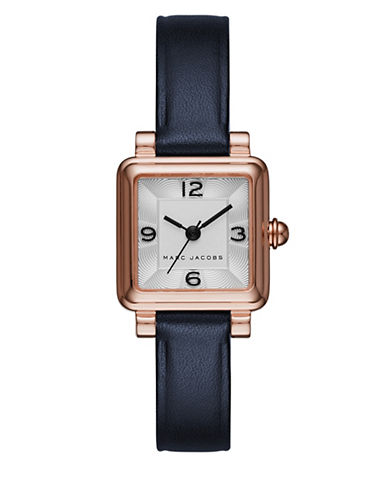 marc jacobs female vic rose goldtone stainless steel and leather threehand strap watch