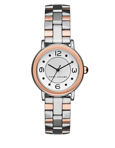 marc jacobs female riley twotone stainless steel threelink bracelet watch