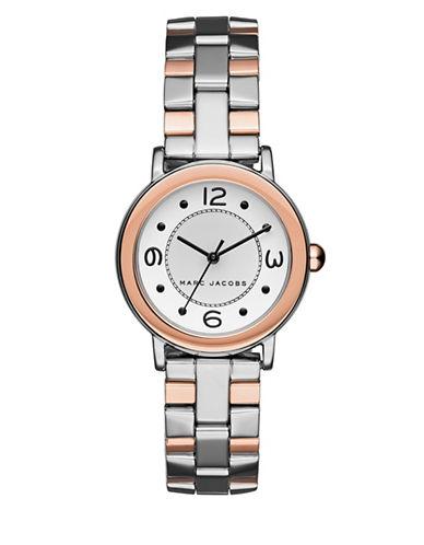 marc jacobs female riley twotone stainless steel threelink bracelet watch