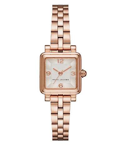 marc jacobs female vic rose goldtone stainless steel threehand bracelet watch