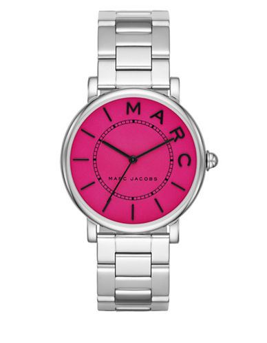 marc jacobs female roxy stainless steel fuchsia satin dial threehand bracelet watch