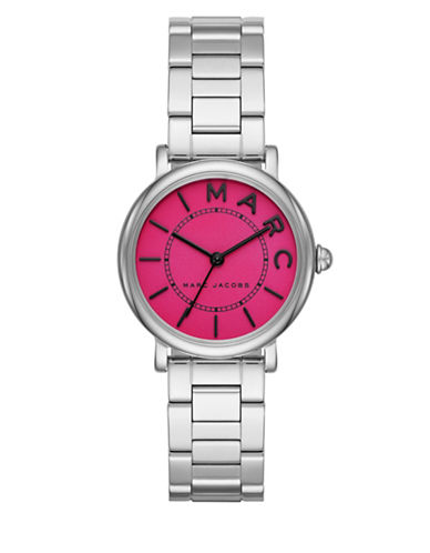 marc jacobs female roxy stainless steel fuchsia satin dial threelink bracelet watch