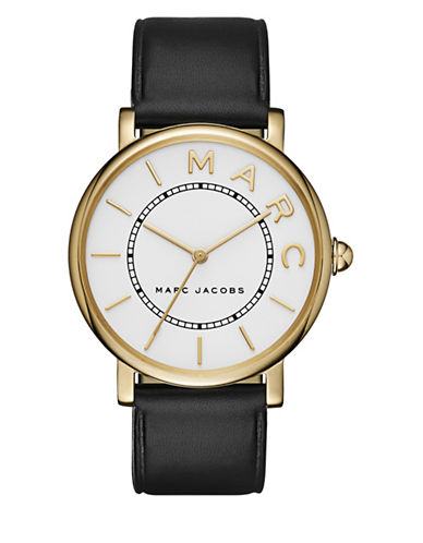 marc jacobs female roxy goldtone stainless steel and leather threehand strap watch
