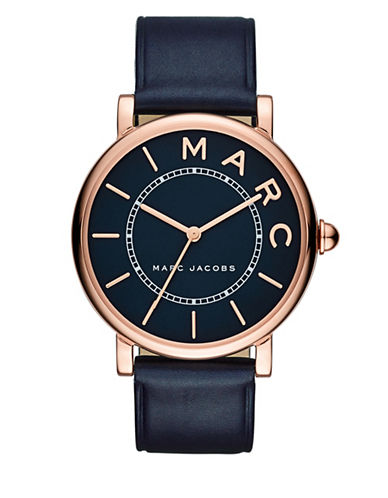 marc jacobs female roxy rose goldtone stainless steel and leather blue satin dial threehand strap watch