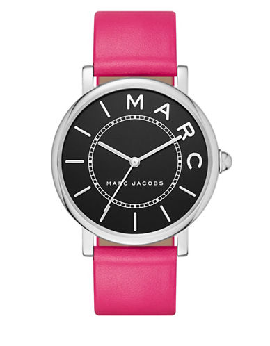 marc jacobs female roxy stainless steel and leather black satin dial threehand strap watch