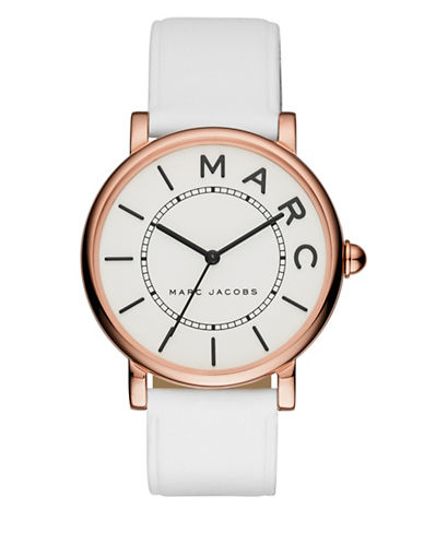 marc jacobs female roxy rose goldtone stainless steel and leather threehand strap watch