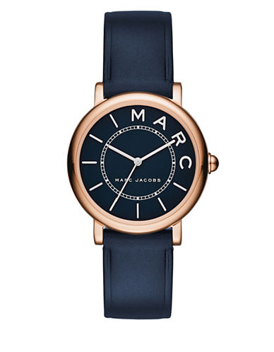marc jacobs female roxy rose goldtone stainless steel and leather navy satin dial strap watch