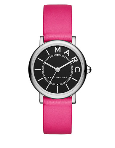 marc jacobs female roxy stainless steel and leather black satin dial strap watch