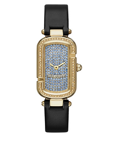 marc jacobs female the jacobs goldtone stainless steel and leather two hand strap watch