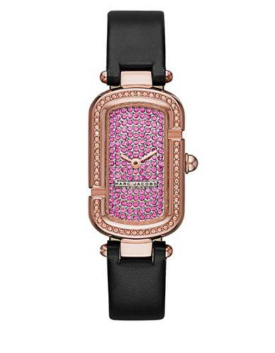 marc jacobs female the jacobs rose goldtone stainless steel and leather two hand strap watch