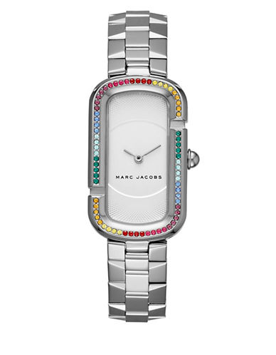 marc jacobs female the jacobs stainlesssteel rainbow glitz bezel twohand bracelet watch