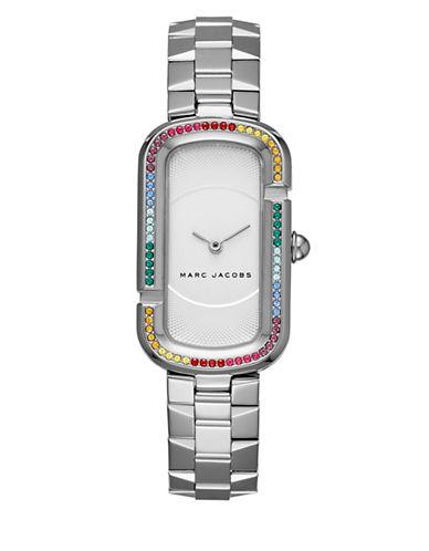 marc jacobs female the jacobs stainlesssteel rainbow glitz bezel twohand bracelet watch