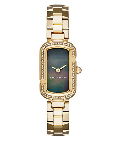 marc jacobs female the jacobs goldtone stainlesssteel black motherofpearl dial bracelet watch
