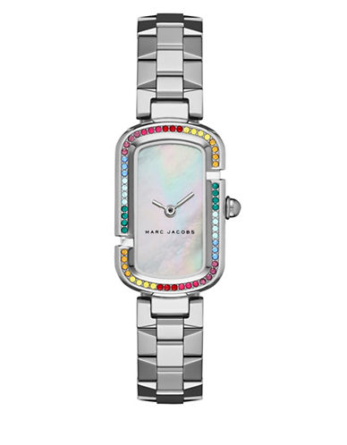 marc jacobs female the jacobs stainlesssteel rainbow glitz bezel bracelet watch