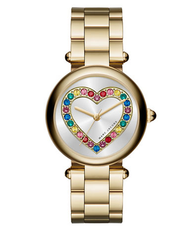 marc jacobs female dotty goldtone stainless steel heart threehand bracelet watch