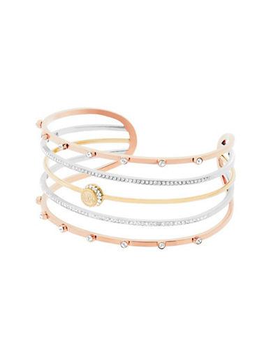 michael kors female cubic zirconia crystal studded tritone logo cuff bracelet