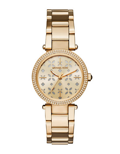 michael kors female mini parker goldtone stainless steel threehand bracelet watch
