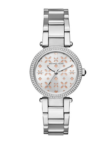 michael kors female mini parker stainless steel threehand bracelet watch