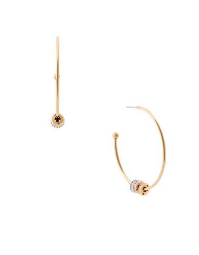 michael kors female cubic zirconia pave ringaccented hoop earrings