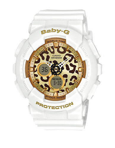 Baby-G Leopard Series White Resin Watch, BA120LP7A2