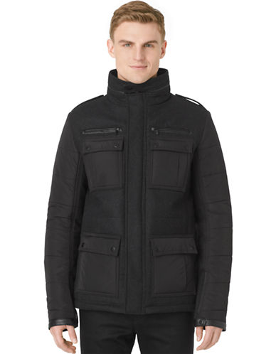 CALVIN KLEIN Wool-Blend Quilted Sleeve Coat