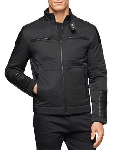 CALVIN KLEINFaux Leather-Trimmed Moto Jacket